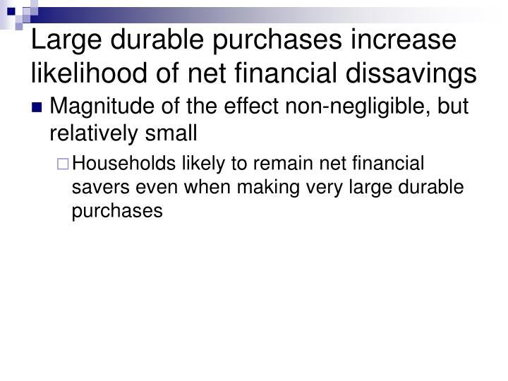 Large durable purchases increase likelihood of net financial dissavings