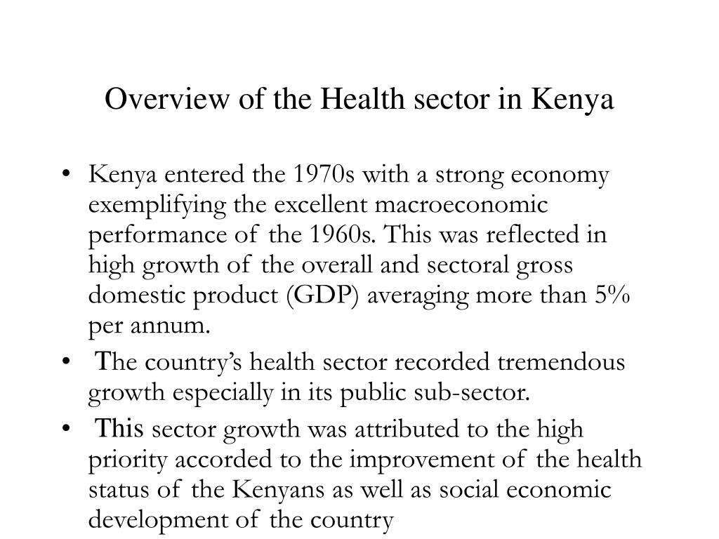 Overview of the Health sector in Kenya