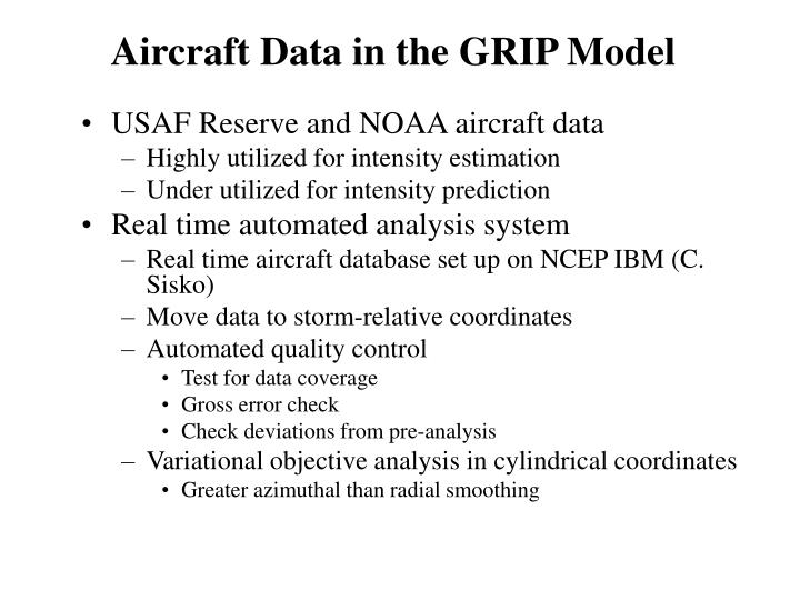 Aircraft Data in the GRIP Model
