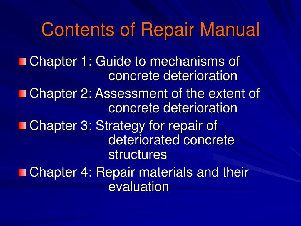 Contents of Repair Manual