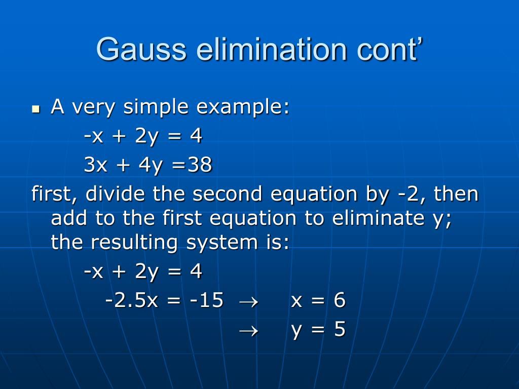 Gauss elimination cont'