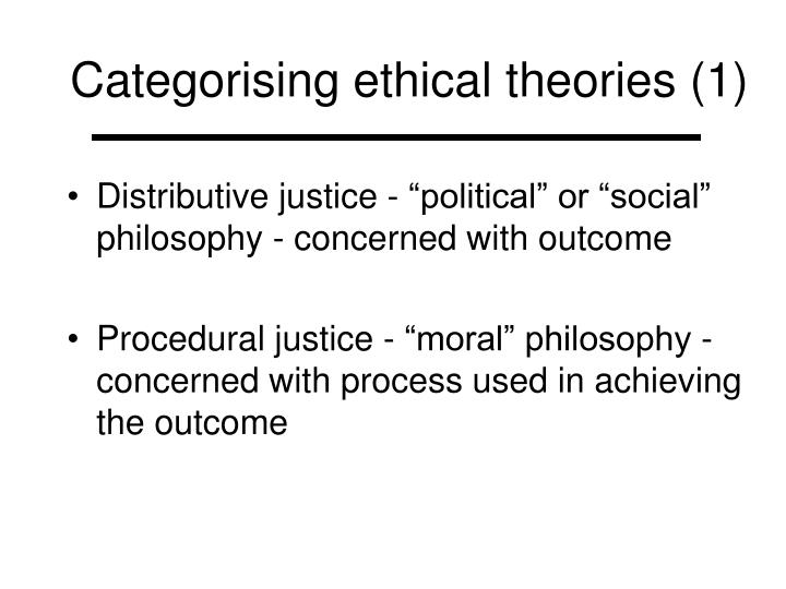 Categorising ethical theories 1