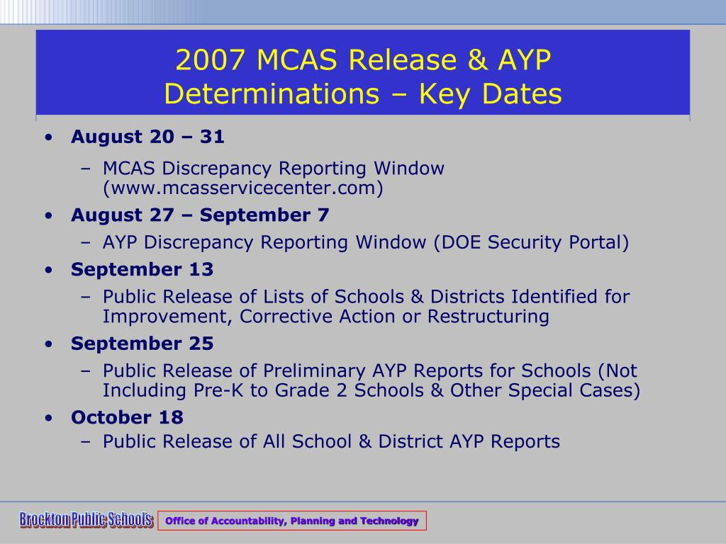 2007 MCAS Release & AYP