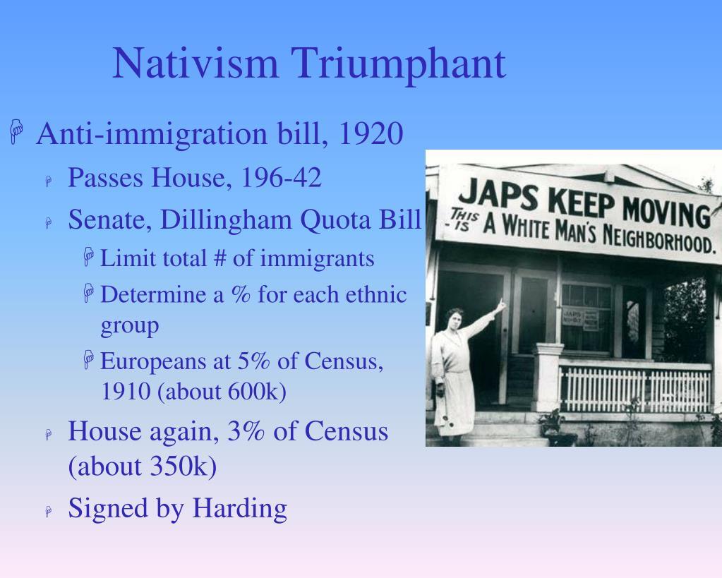 Nativism Triumphant