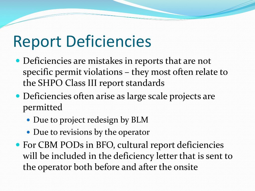 Report Deficiencies