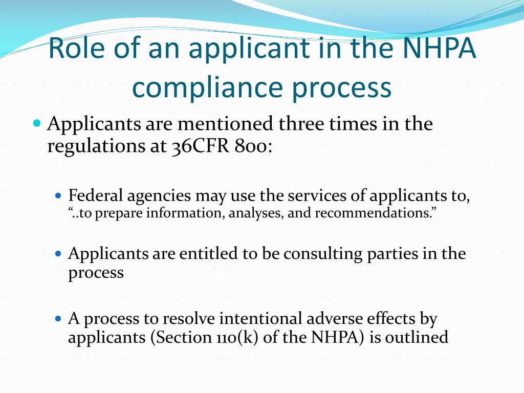 Role of an applicant in the NHPA compliance process