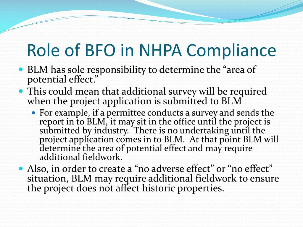Role of BFO in NHPA Compliance