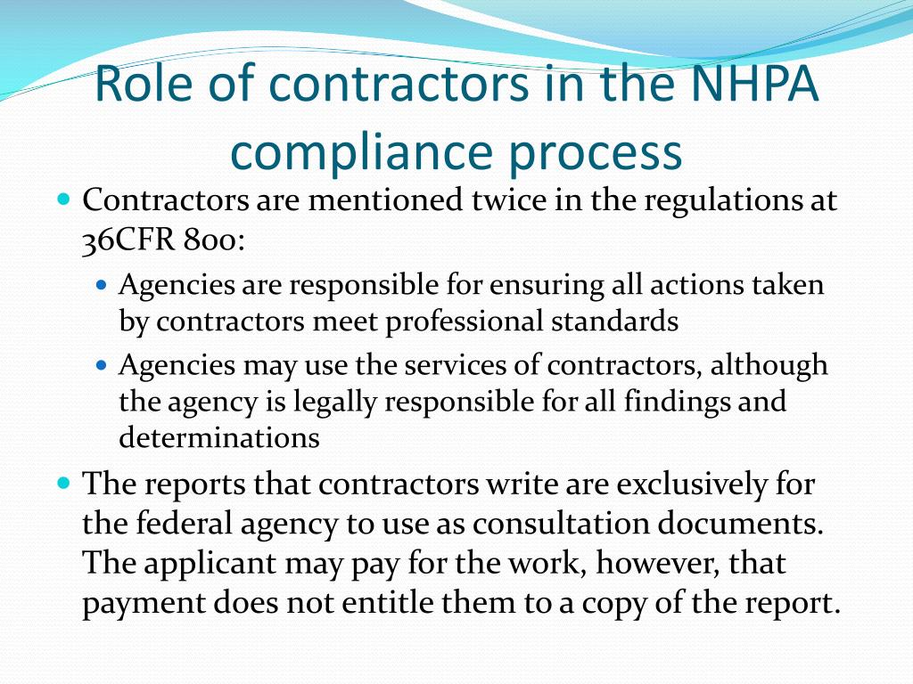Role of contractors in the NHPA compliance process