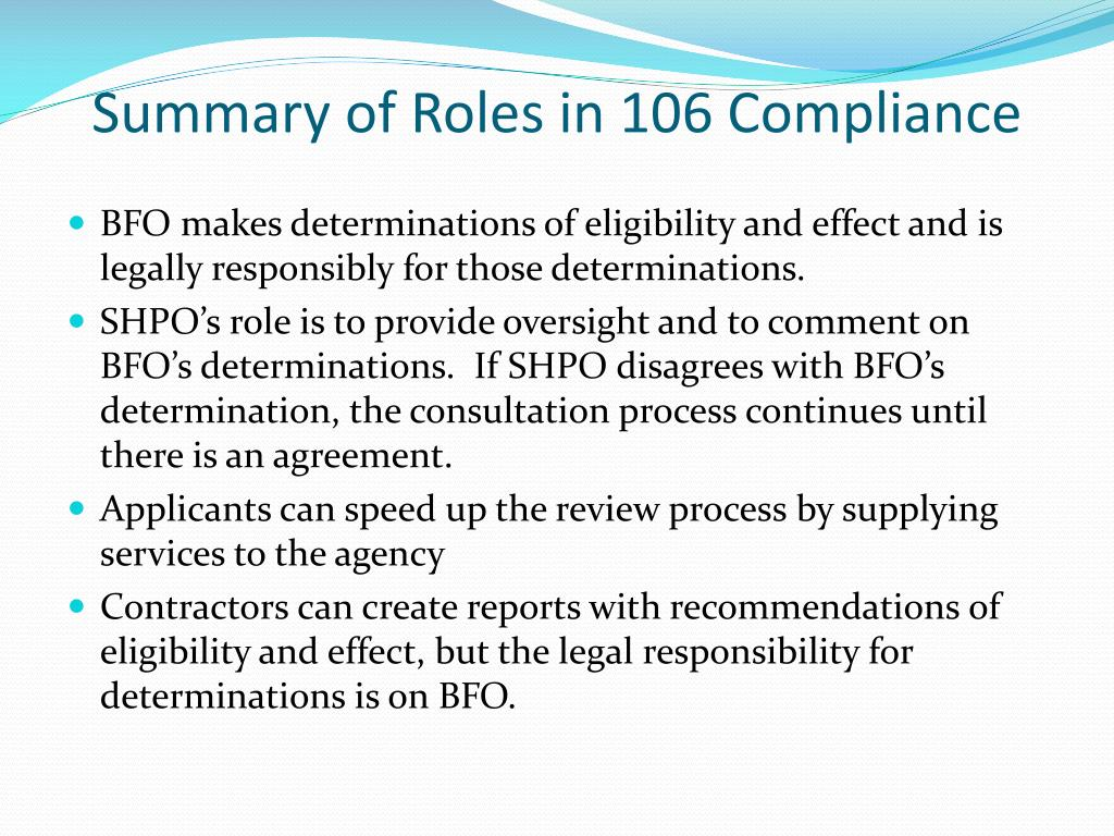 Summary of Roles in 106 Compliance