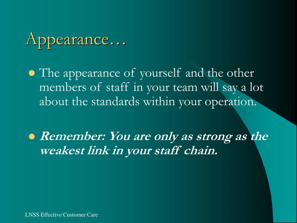 Appearance…