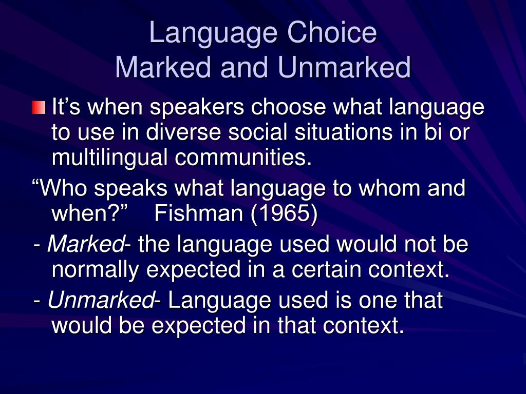 Language Choice