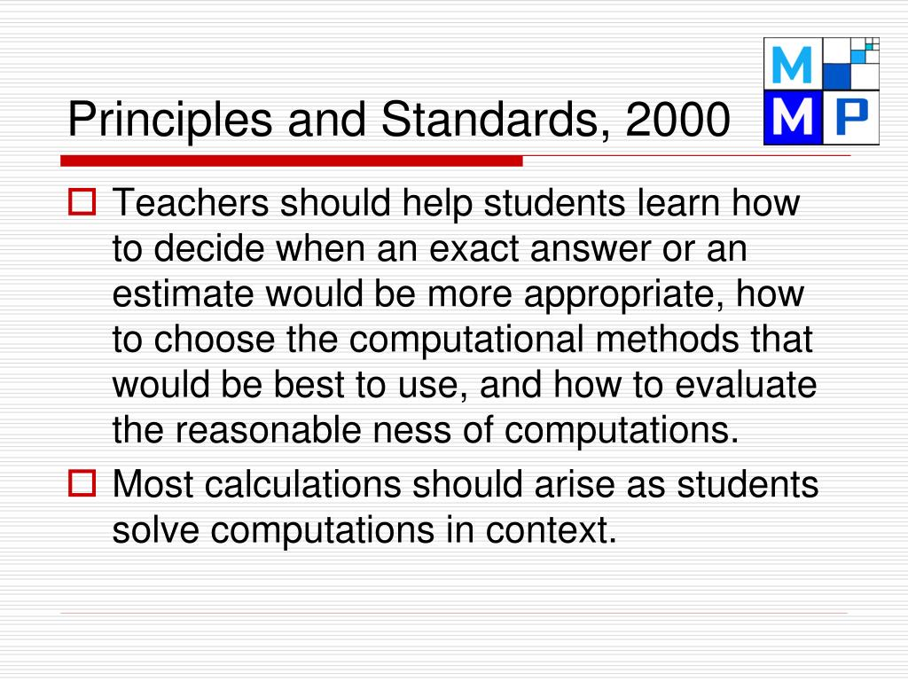 Principles and Standards, 2000