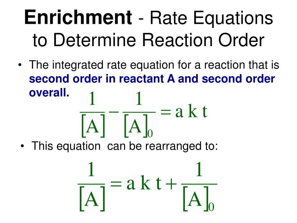 The integrated rate equation for a reaction that is