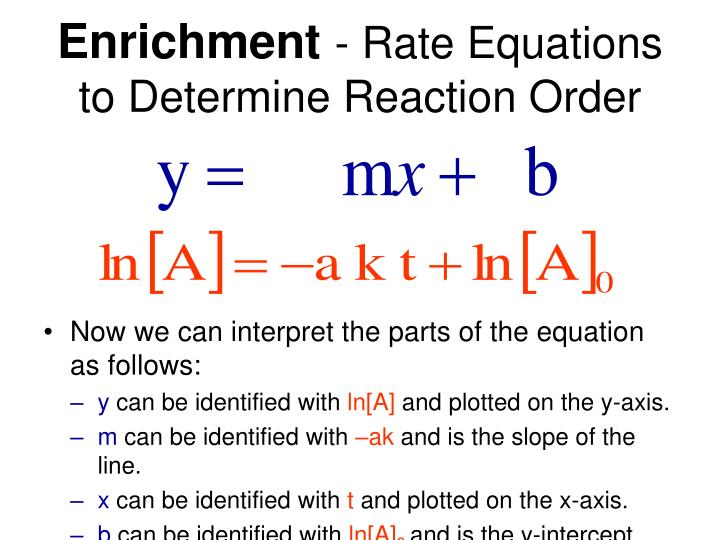 Enrichment rate equations to determine reaction order2