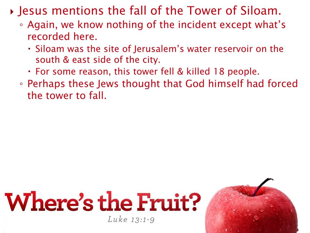Jesus mentions the fall of the Tower of Siloam.