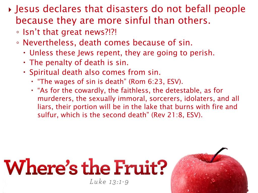 Jesus declares that disasters do not befall people because they are more sinful than others.