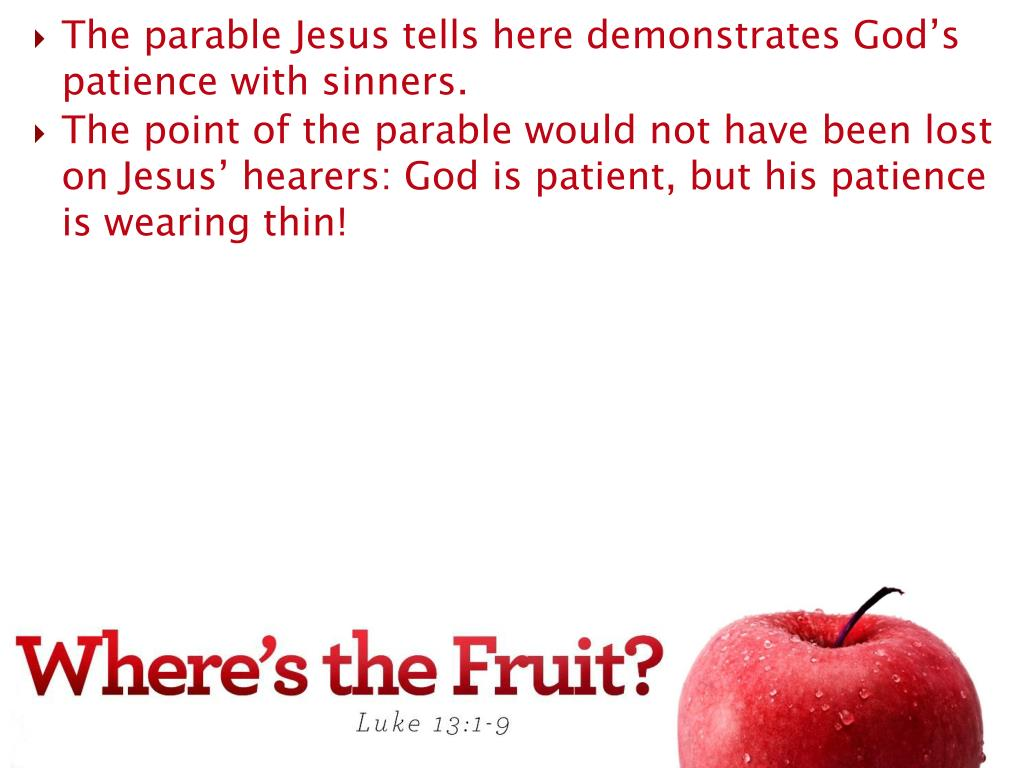 The parable Jesus tells here demonstrates God's patience with sinners.