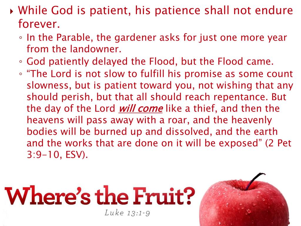 While God is patient, his patience shall not endure forever.