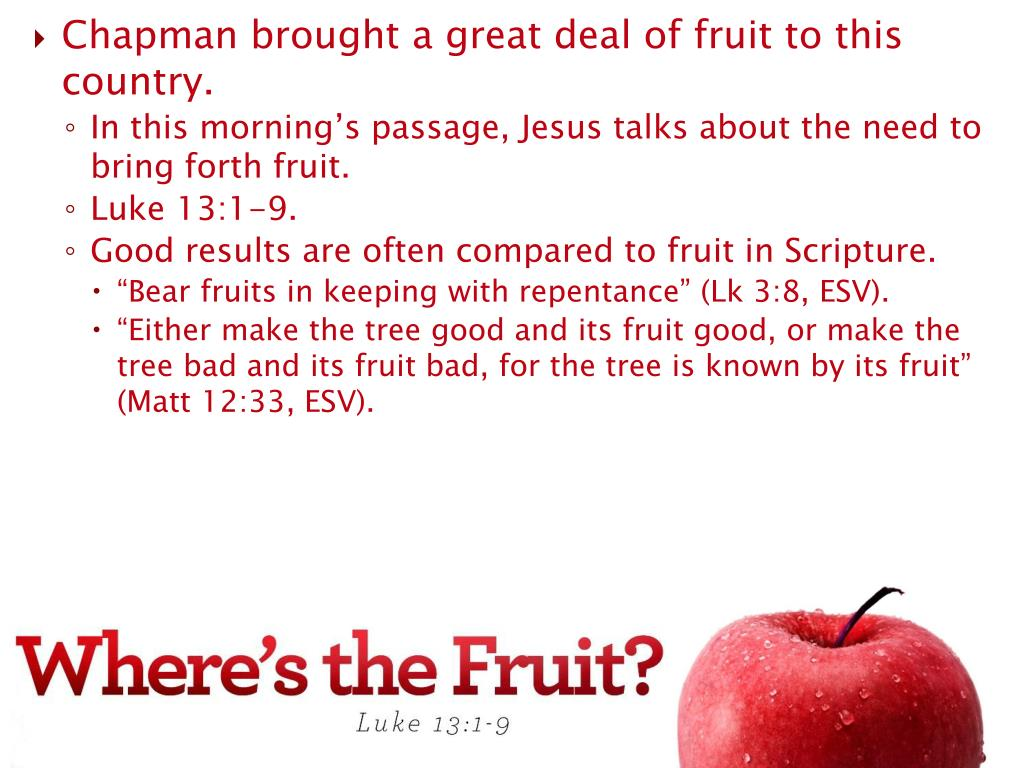 Chapman brought a great deal of fruit to this country.