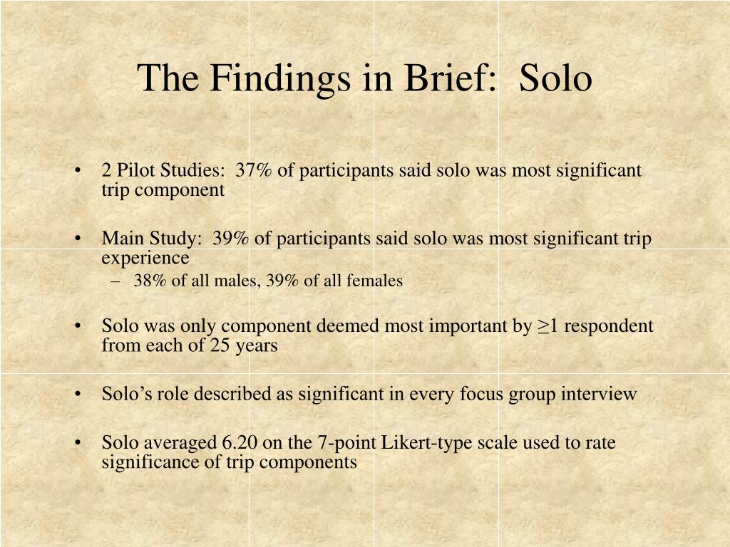 The Findings in Brief:  Solo