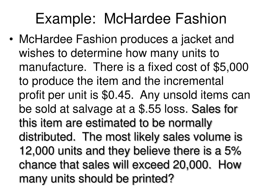 Example:  McHardee Fashion