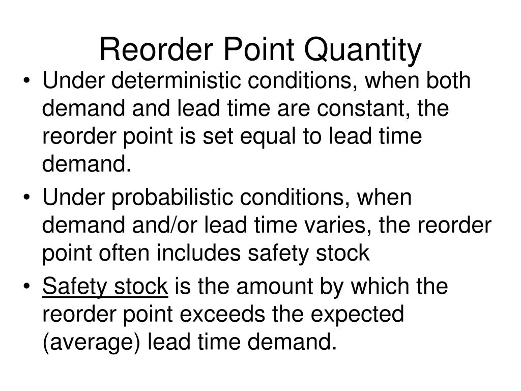 Reorder Point Quantity