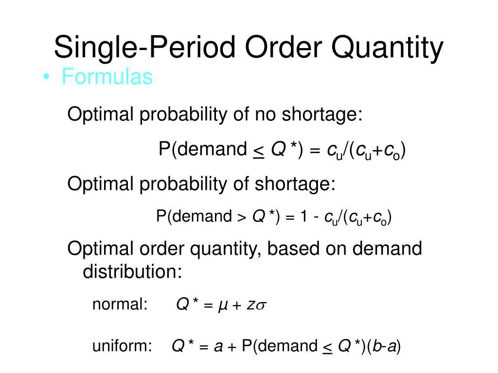 Single-Period Order Quantity