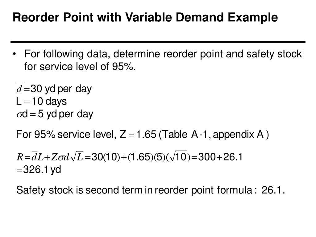Reorder Point with Variable Demand Example