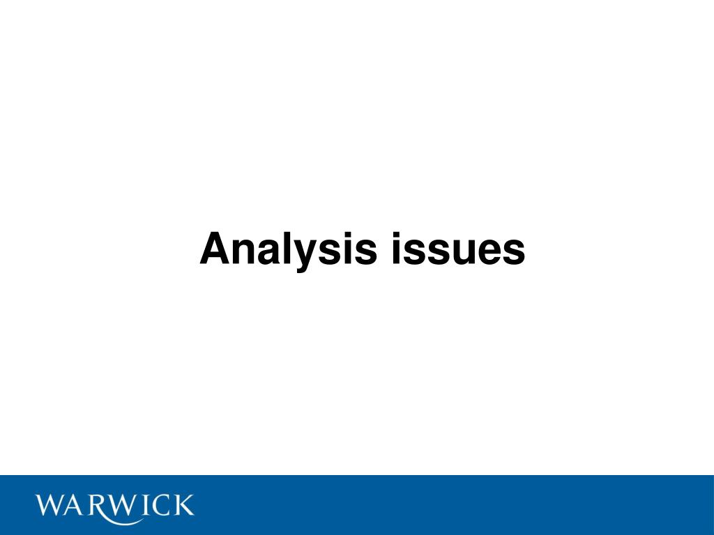 Analysis issues