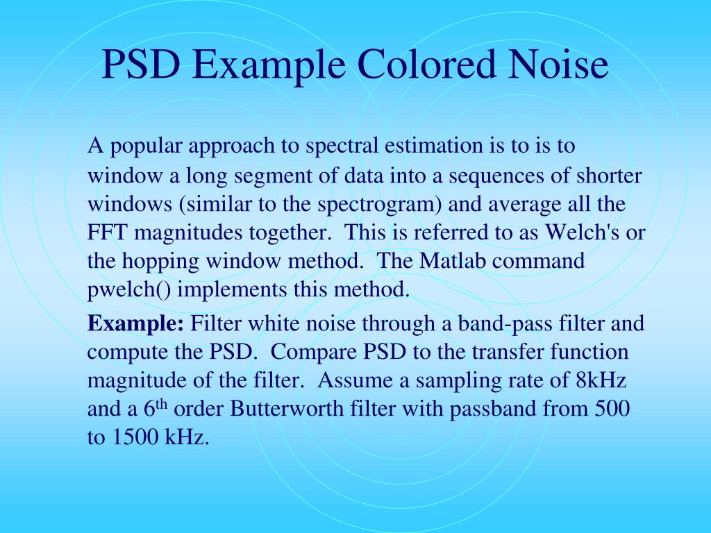 PSD Example Colored Noise