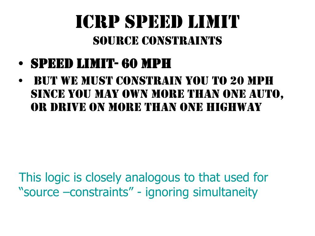 ICRP SPEED LIMIT