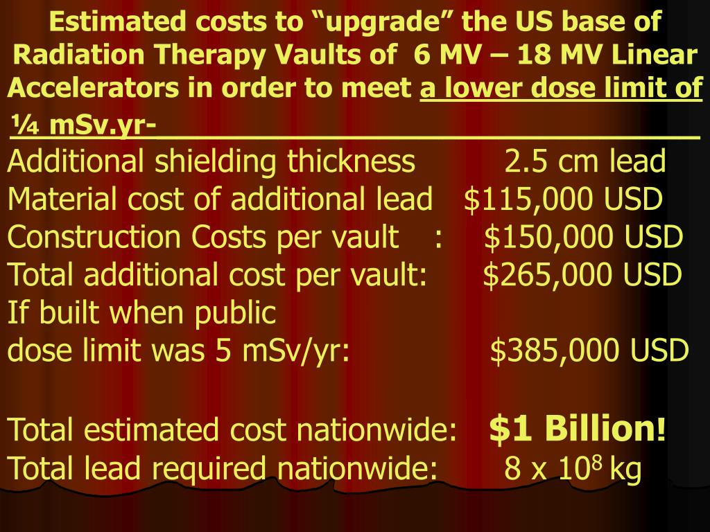 "Estimated costs to ""upgrade"" the US base of Radiation Therapy Vaults of  6 MV – 18 MV Linear Accelerators in order to meet"