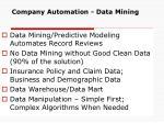company automation data mining