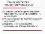 fraud indicators validation procedures