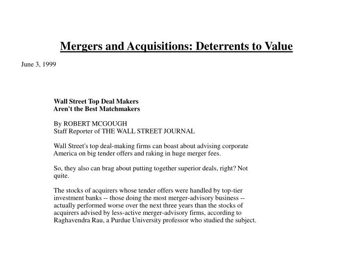 Mergers and Acquisitions: Deterrents to Value