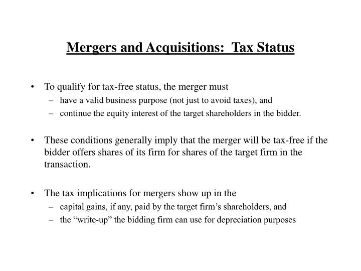 Mergers and Acquisitions:  Tax Status