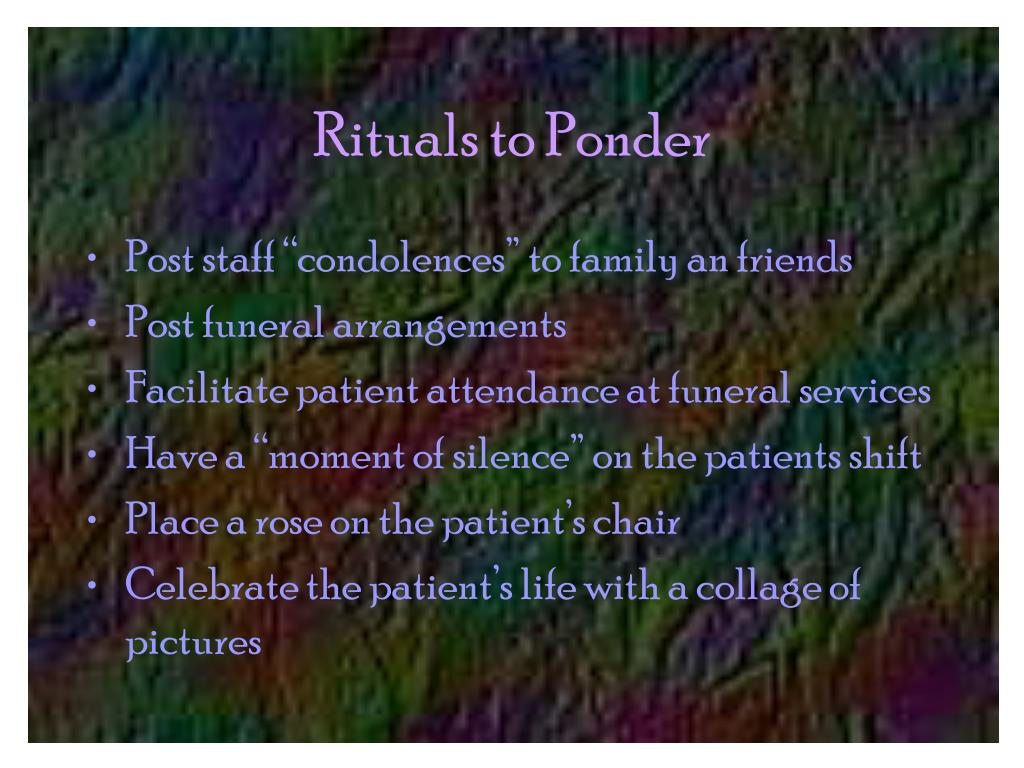 Rituals to Ponder