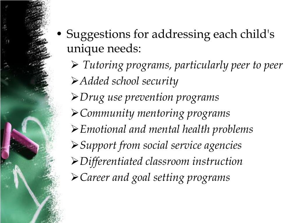 Suggestions for addressing each child's unique needs: