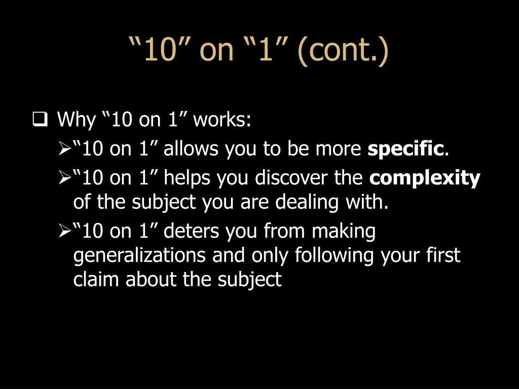 """""""10"""" on """"1"""" (cont.)"""