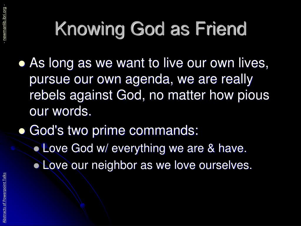Knowing God as Friend