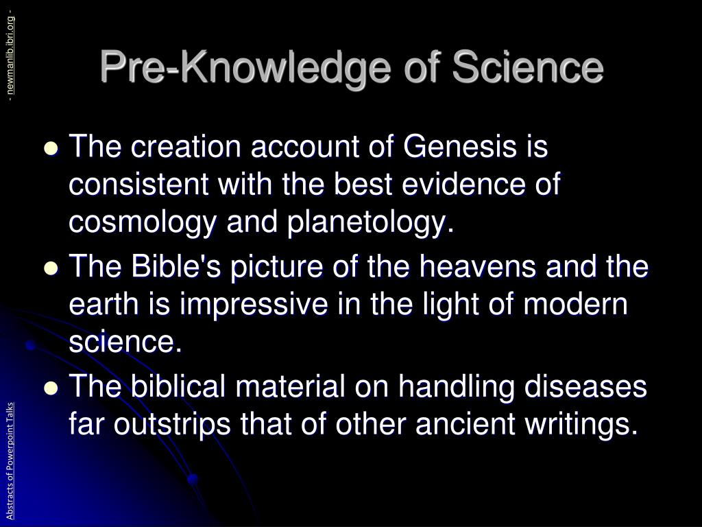 Pre-Knowledge of Science