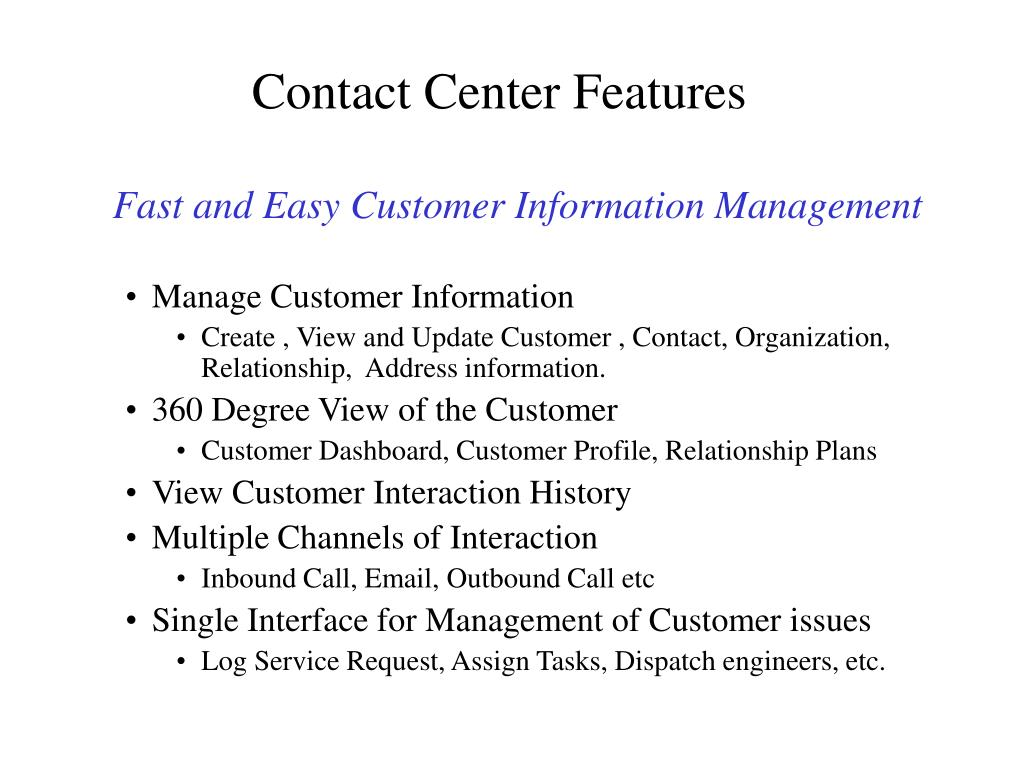 Contact Center Features