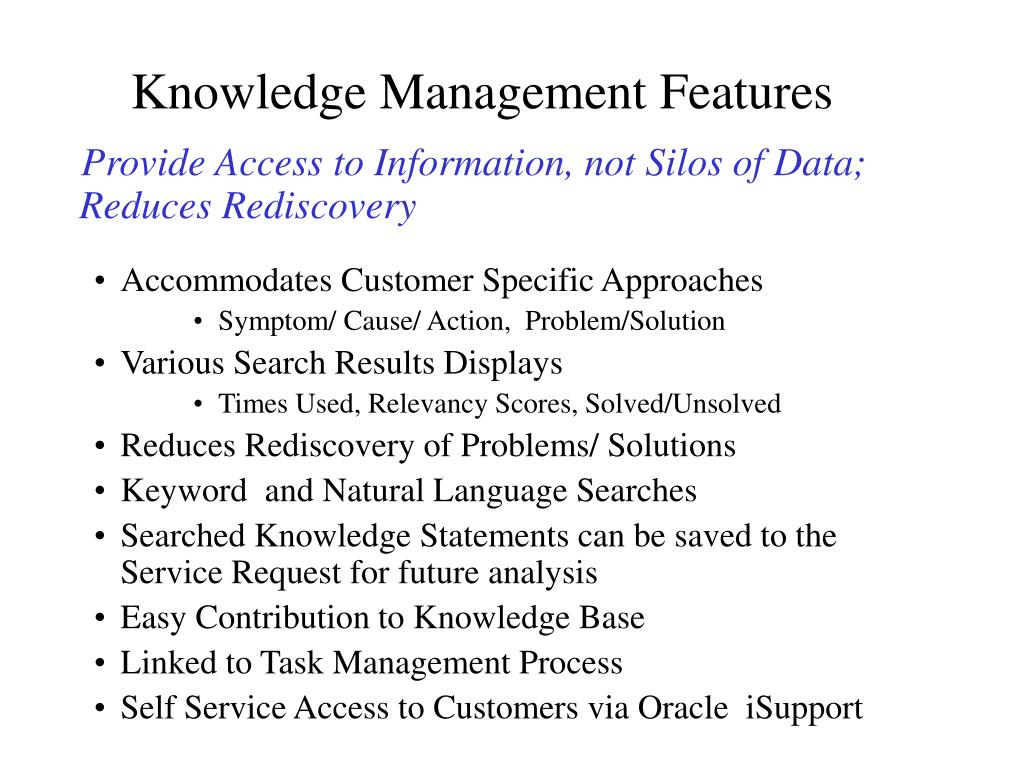 Knowledge Management Features