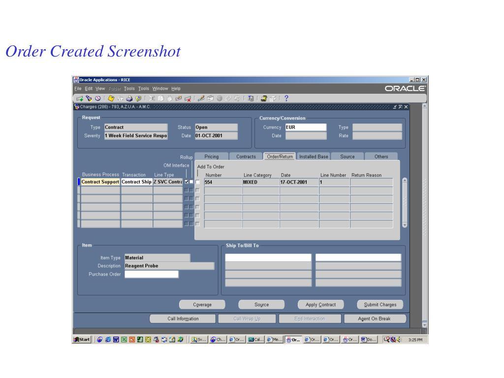 Order Created Screenshot