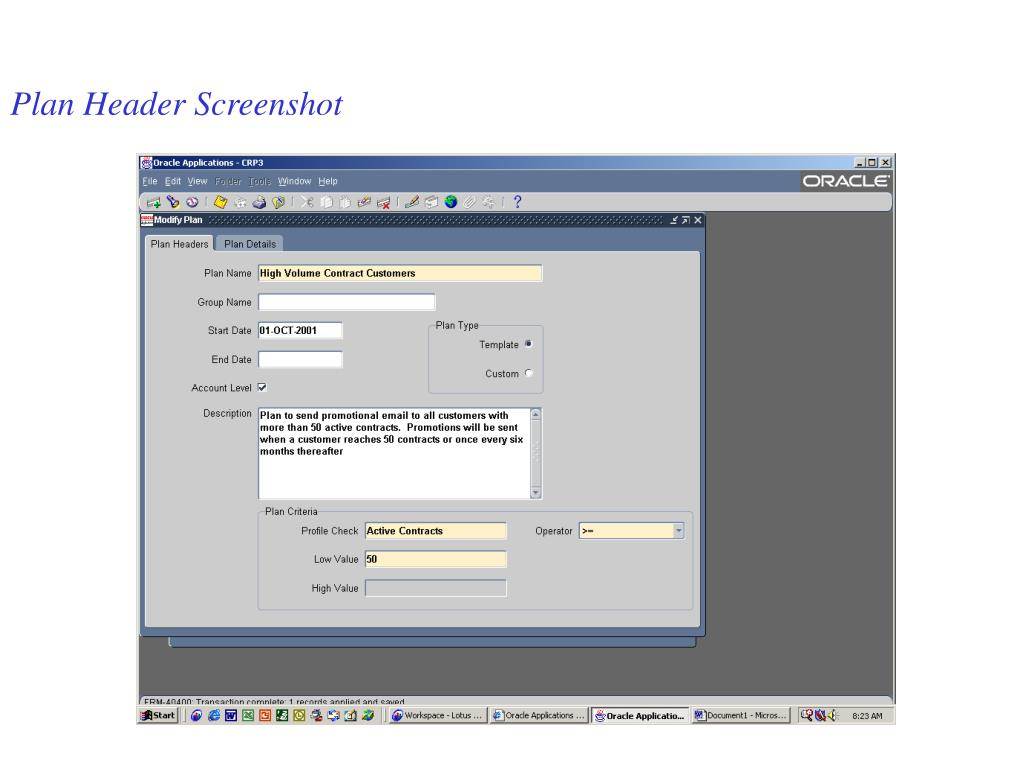 Plan Header Screenshot
