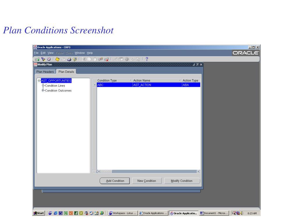 Plan Conditions Screenshot