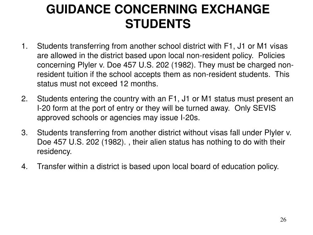 GUIDANCE CONCERNING EXCHANGE STUDENTS