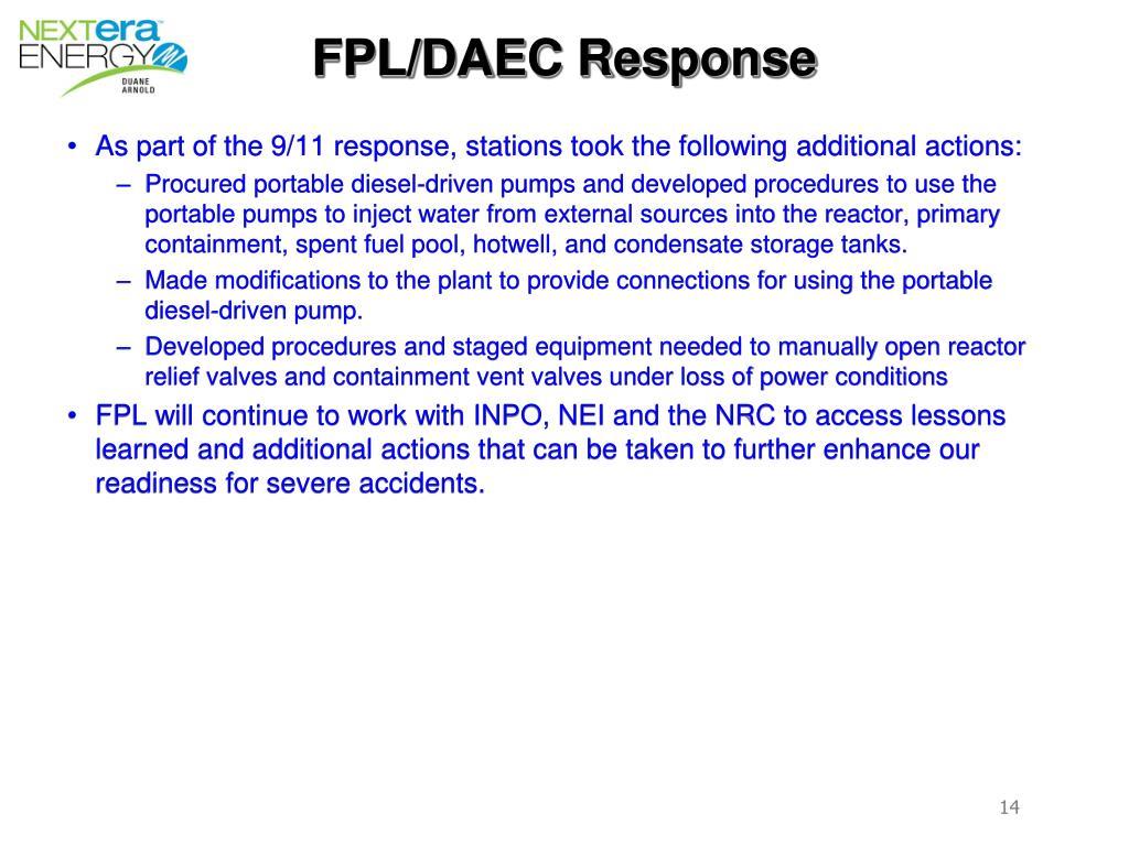 FPL/DAEC Response