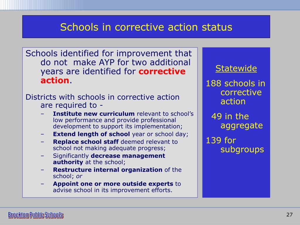 Schools in corrective action status