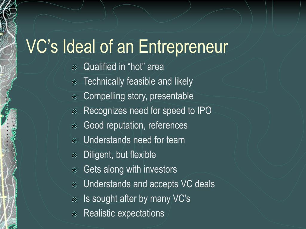VC's Ideal of an Entrepreneur